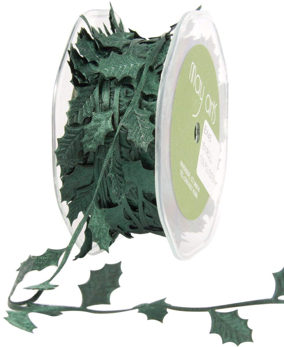 *NEW May Arts Green Christmas Holly Cutout Satin Ribbon Trim