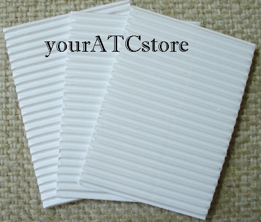 10 - Corrugated C-Flute Tile ATC Papers - Horizontal Flute White