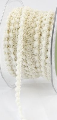May Arts Mini Pom Pom Ribbon Trim Fringe - Ivory Cream