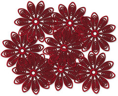 Jenni Bowlin Plastic Doily Flowers - Red 1 3/8 in. in diameter