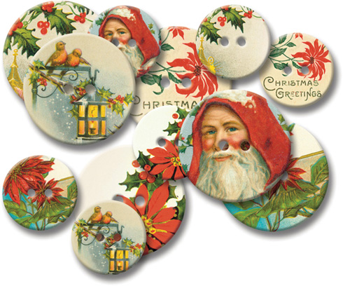 Jenni Bowlin Chipboard Buttons - Vintage Christmas