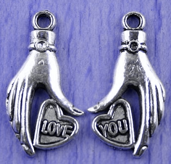 "Art Doll - Hand Silver Large ""Love""  ""You"" Hand Charms - Set of"