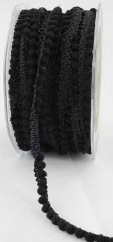 May Arts Mini Pom Pom Ribbon Trim Fringe - Black