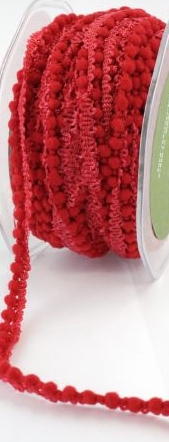 May Arts Mini Pom Pom Ribbon Trim Fringe - Red