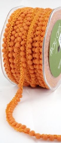 May Arts Mini Pom Pom Ribbon Trim Fringe - Halloween Orange
