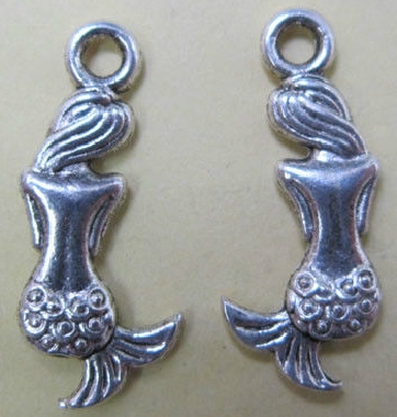From the Ocean - Mermaid Maiden Back View Charm - Silver