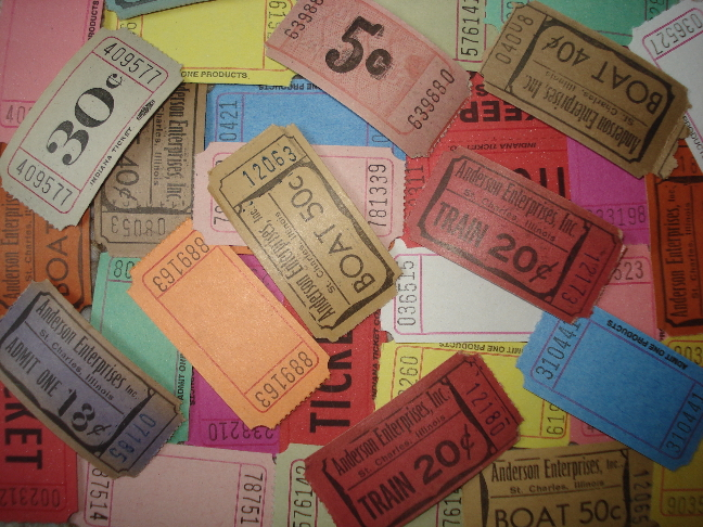 50 Raffle Ticket Assortment w/ Vintage Tickets too!