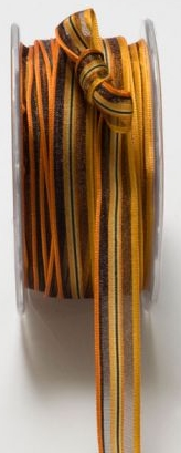 "May Arts Halloween/Fall 1/2"" Orange & Black Sheer/Stripes Ribbon"