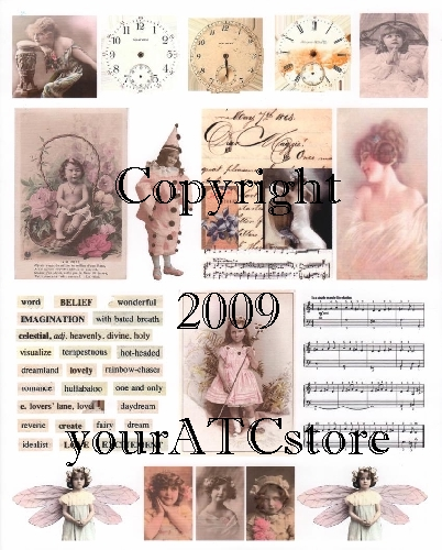 yourATCstore Artist Trading Card Collage Sheet - Muted Pink