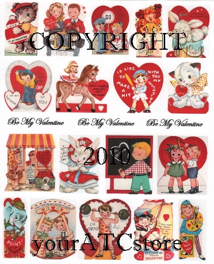 yourATCstore My Childhood Valentines Collage Sheet #1