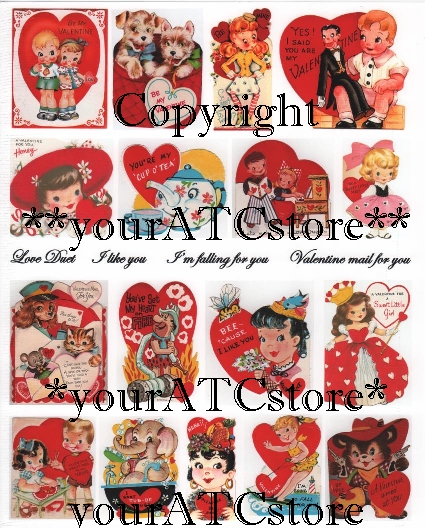 yourATCstore My Childhood Valentines Collage Sheet #2