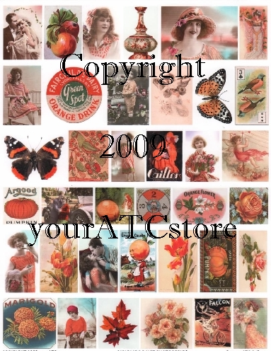 yourATCstore Artist Trading Card Collage Sheet - Orange