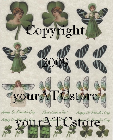 yourATCstore St. Patricks Day Butterfly Ladies Parchment Sheet