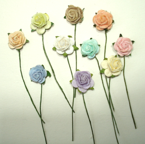 10 - Handmade Mulberry Paper Mini Mix Roses - Pastel