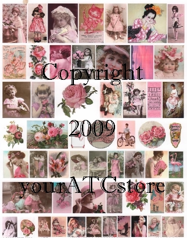yourATCstore Artist Trading Card Collage Sheet - Pink #1