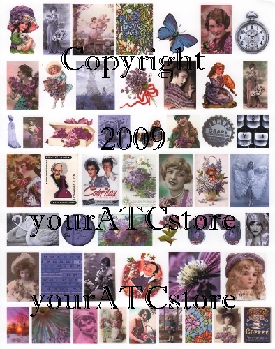 yourATCstore Artist Trading Card Collage Sheet - Purple/Lavender