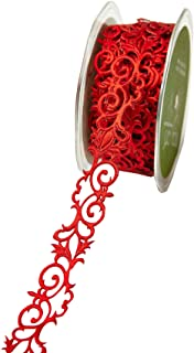 *NEW May Arts Adhesive Satin Fleur-De-Lis Scroll Ribbon - Red