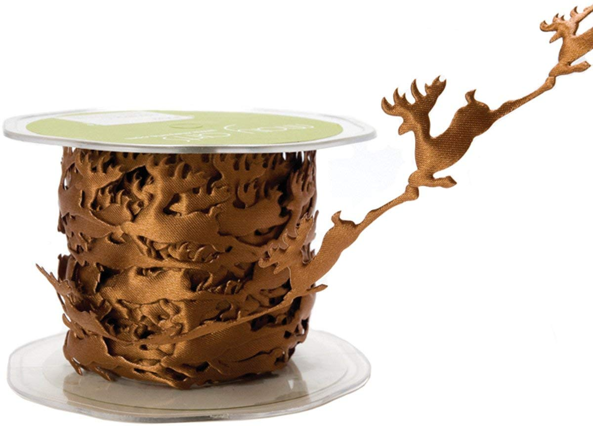 *NEW May Arts Flying Brown Reindeer Cutout Satin Ribbon Trim