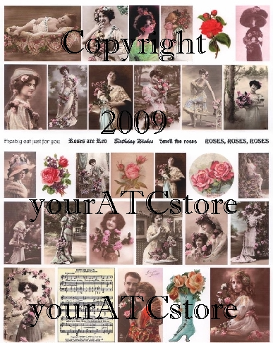 yourATCstore Roses, Roses, Roses Collage Sheet
