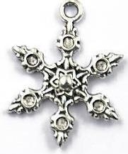 Snowflake Charm - 6 Pointed Flower Center - Silver