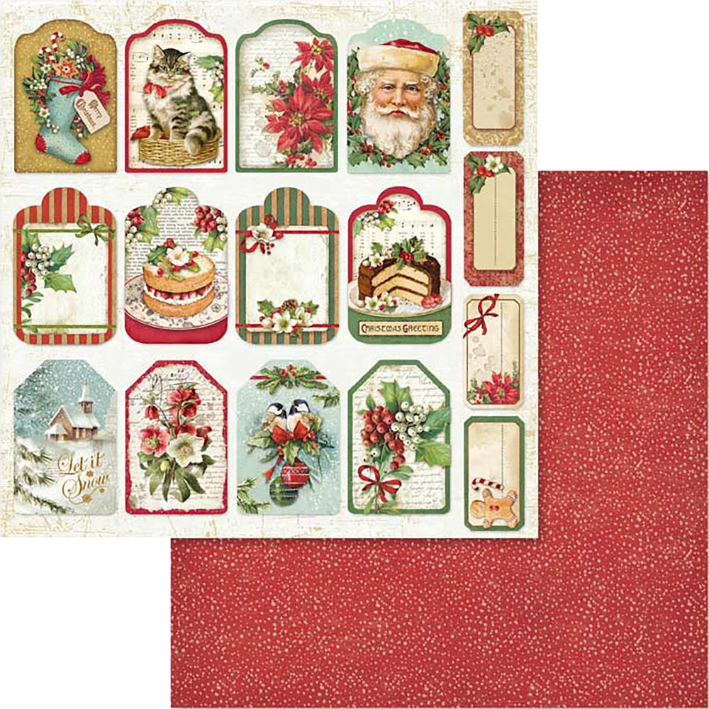 Stamperia Christmas Vintage Tags & Labels 12 x 12 Paper