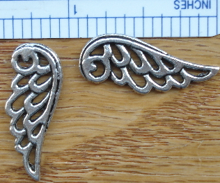 Angel Wings - Large 1 in. Silver Angel Wing Charms Set of 2