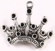 Crown - Fancy Pointed Crown Charm - Silver