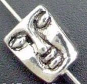 Art Doll - Head/Face Bead - Silver Rectangular Face Bead