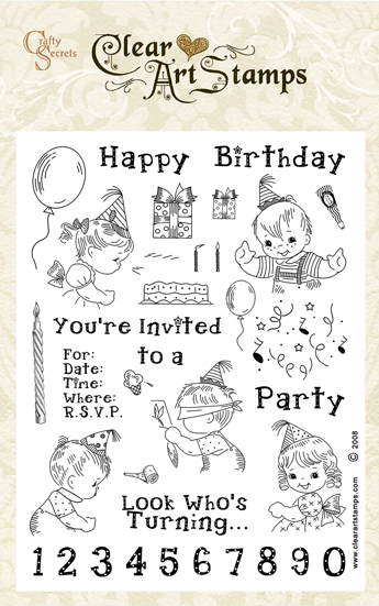 Crafty Secrets Clear Art Stamps - Birthday Kids