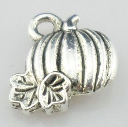 Halloween Small Silver Pumpkin Charm