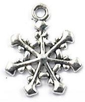 Snowflake Charm - Solid Diamond on Ends - Silver