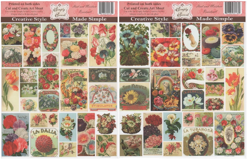 Simply Swank 2-Sided Floral Creative Art Collage Sheet