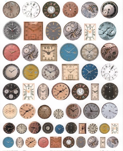Telling Time Clock/Watch Dials Clear Transparency Collage Sheet