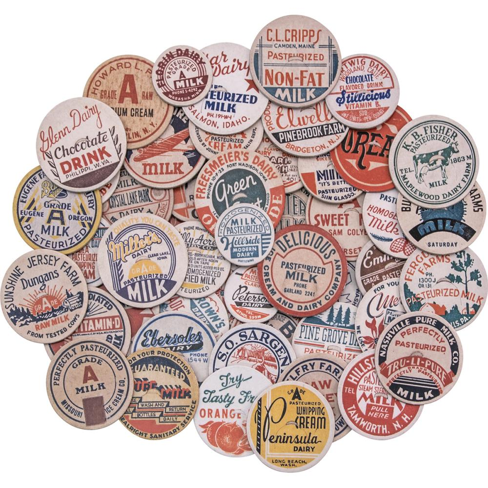 *NEW Tim Holtz Idea-ology Chipboard Milk Caps 50/Pkg.