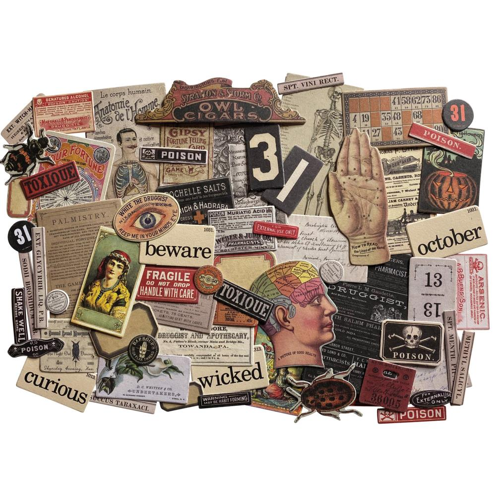 *NEW 2020 Tim Holtz Halloween MINI Snippet Ephemera Pack 68 pcs.