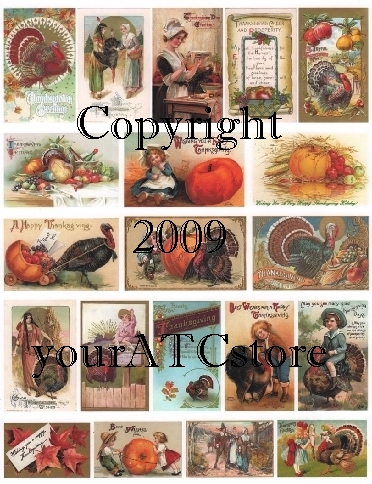 yourATCstore Vintage Happy Thanksgiving Collage Sheet