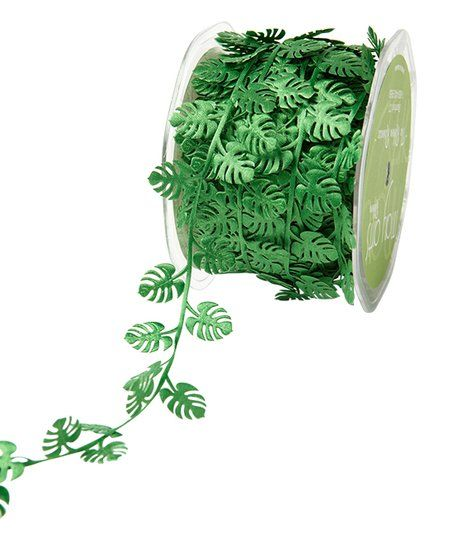 *NEW May Arts Green Tropical Leaf Cutout Satin Ribbon Trim