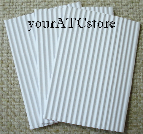 10 - Corrugated C-Flute Tile ATC Papers - Vertical Flute White