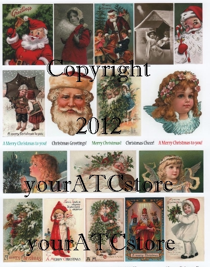 yourATCstore Christmas Vintage Cheer Collage Sheet