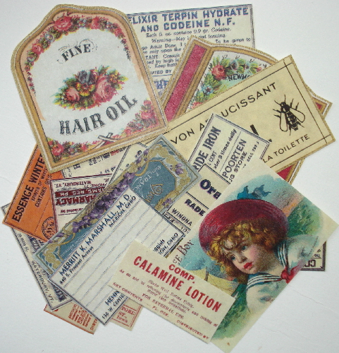 25 Vintage Label Perfume Ephemera Reproductions