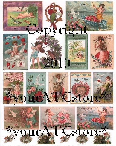 yourATCstore Vintage Valentine Birds Collage Sheet