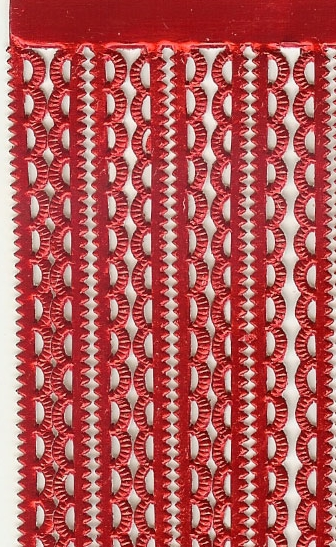 German Foil (Dresden) Paper/Scrap Mini Scalloped Borders - Red