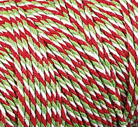 Baker's Twine Cording Red, Olive and White Striped - 5 yds.