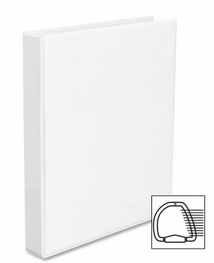 3 Ring Durable White 1 Inch Binder Album w/ Clear Overlay