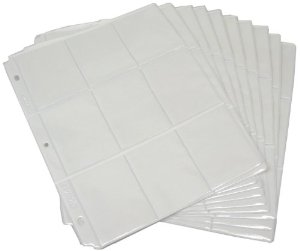 ATC 3 Hole 18 Pocket WHITE Page Protectors 10/pkg Holds 180 ATCs