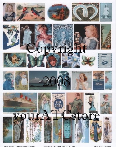 yourATCstore Artist Trading Card Collage Sheet - Everything Blue