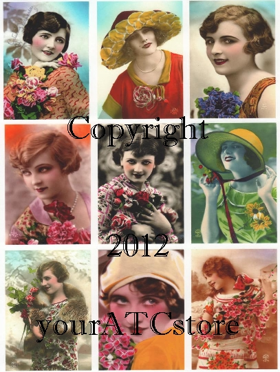 yourATCstore ATC Bright Beauties Collage Sheet