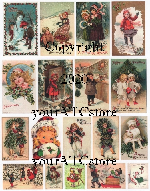 yourATCstore Adorable Christmas Collage Sheet