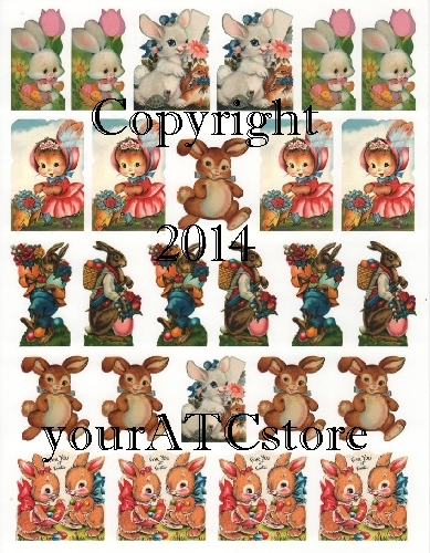 yourATCstore Adorable Easter Images for ATCs Collage Sheet
