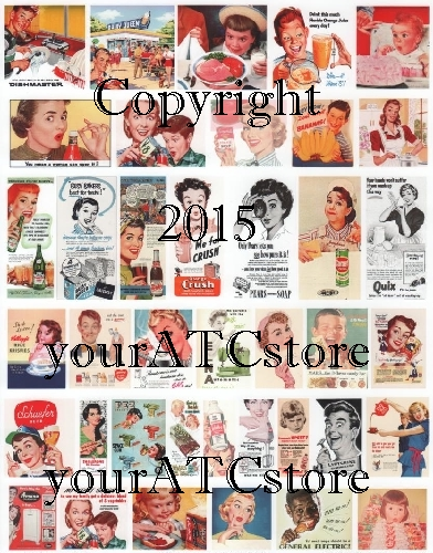 yourATCstore Blast from the Past Retro Fun Ads Collage Sheet